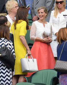 Snapchat pals: Kate and Sophie were seen chatting in the royal box after filming a Snapchat video with tennis ace Serena Williams. Sophie wore the same coral skirt and white top by British designer Suzannah she sported at Royal Ascot just a few weeks ago
