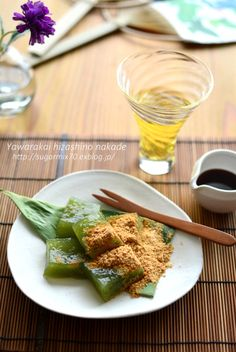 Matcha Warabi Mochi, Japanese Green Tea Jelly  抹茶わらび餅