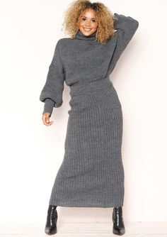 c81f7666abc7d Missyempire - Vicki Charcoal Knit Jumper Midi Co-ord Set Co Ords Outfits