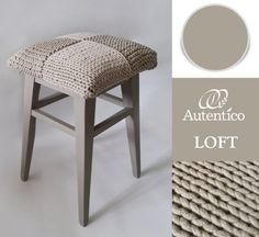 A simply superb transformation of a footstool using Autentico Chalk Paint colour Loft. Love the rough knitted seat. Real Autentico style.