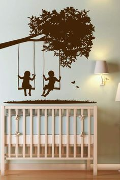 WALLTAT.coms Kids on Swings decal - this is sooo cute! May think about this for the little girls' room.