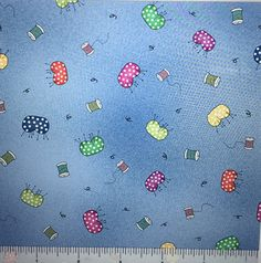 Fabric Follies 100% cotton fabric Blue with Pin Cushions thread spools  by the yard smoke free pet free fabric quilt shop hop by pmscrafts on Etsy