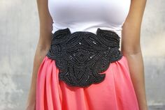 a pair and a spare . diy fashion: DIY Beaded Belt & Side Split Maxi Skirt