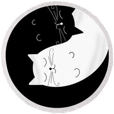 Ying yan Cats Round Beach Towels Black and white Gift by Lulais