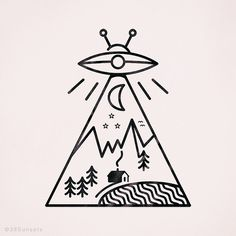 A little out of this world tattoo outline. Found with google search engine.