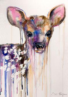 Deer watercolor  painting print 8 x 12  Roe Deer  by SlaviART, $25.00