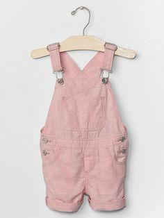 1969 pink chambray denim shortalls