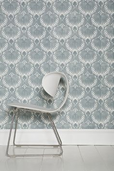 Farrow & Ball Lotus BP2054 wallpaper with skirting and floor in Wimborne White Estate Eggshell and Floor Paint.