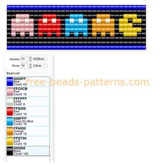 Free perler beads pattern bracelet with Pacman and enemies