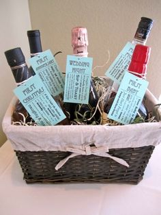 118afc14547f Omg I had thought about like 5 of these on my own lol!! DIY gift basket   Wine and booze for the bride-to-be.