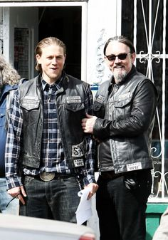 Charlie and Tommy on set of SOA for season 7....They are having entirely too much fun :)