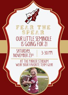 Fear the Spear - Football Birthday Party Ideas, Food, Decor and Activities Football Birthday, Football Baby, Baby Birthday, Football Favors, Football Themes, Birthday Party Invitations, Birthday Party Themes, Todays Parent, Best Part Of Me