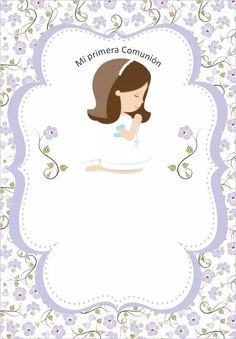 First Communion Favors, First Communion Invitations, First Holy Communion, Baptism Invitations Girl, Cupcake Toppers Free, Baptism Centerpieces, Angel Decor, Borders For Paper, Festa Party