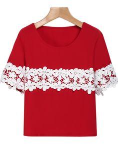 Red Short Sleeve Lace Embellished T-Shirt - Sheinside.com
