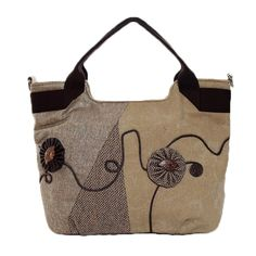 Sale 25% (36.99$) - Chinese Style Canvas Flower Tote Bags Tribal Shoulder Bags Embroidery Crossbody Bags