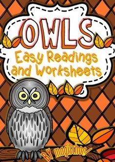 Owls Easy Readings and Worksheets (Life Cycle -Flip Flaps and more... ) | by Magischool Magiland | $5.00