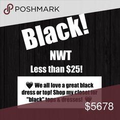 ⚫️⚫️ Black dresses and tops ⚫️⚫️ Shop my closet 🖤 ⚫️⚫️ Black dresses and tops ⚫️⚫️ Shop my closet 🖤 All dresses and tops under $25🖤 NWT ⚫️. Fast shipping ✔️ Dresses
