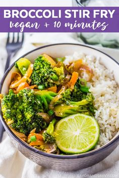 Healthy Dinner Recipes: One of my favorite broccoli recipes! This vegetarian garlic broccoli stir fry recipe is ready in just 10 minutes. Serve this easy vegan recipe over your favorite rice for a quick weeknight dinner. Stir Fry Recipes, Vegan Recipes Easy, Lunch Recipes, Healthy Dinner Recipes, Vegetarian Recipes, Vegetarian Dinners, Entree Recipes, Chef Recipes, Delicious Recipes