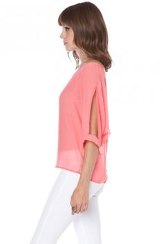 Open arms chiffon shirt, love the coral + white
