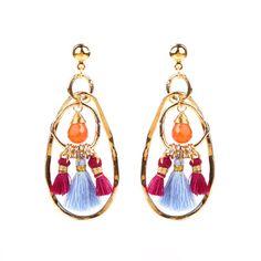 JULIET CARNELIAN STONE & TASSEL MAGNOLIA EARRINGS Tassel Earrings Outfit, Gold Plated Earrings, Drop Earrings, Fashion Jewellery Online, Carnelian, Bohemian Style, Tassels, Stone, Elegant