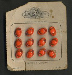 Czech Glass hand-painted buttons in orange on original La Mode brand card from Recursive Chic @ recursivechic.com