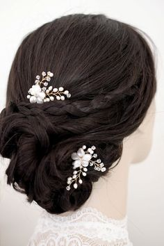 LAURA Bridal Hair Pieces Wedding Hair Pins by percyhandmade