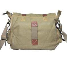 Men's Vintage Canvas Leather Satchel School Military Messenger Shoulder Bag Easy