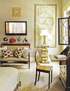 furlow gatewood designs   In the bedroom, a painted canvas panel forms a dramatic backdrop for ...