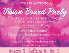 vision board party invitation by auroragraphicstudio on etsy vision board party pinterest party invitations board and etsy - Vision Board Party Invitation