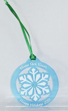 Check out this color printed blue acrylic ornament! Notary Supplies, Park Resorts, Acrylic Colors, Snowflakes, Washer Necklace, Stamp, Holidays, Christmas Ornaments