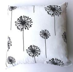 16x16 inch Pillow Cover, Cushion Cover. Premier Prints Dandelion White/Black.....Envelope Back Enclosure.. $16.00, via Etsy.