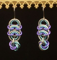 Items similar to Vertebrae with Mobius Dangle Chainmaille Earrings ...