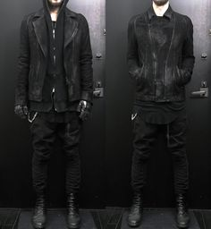 James Baik wearing: Julius for atelier ANYX10 leather jacket, viridi-anne hoodie, rick owens shirt, bbs pant, guidi boot, ccp gloves, chrome hearts chain and wallet