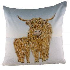 Evans Lichfield Highland Cow Snow Scene Cushion
