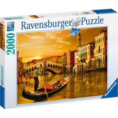 """Gondolier in Venice 2000 Piece Puzzle: This jigsaw puzzle measures 38.5"""" x 29.5"""" when complete. Be one of the millions to experience a whole new world of puzzling fun with Ravensburger!   $29.99  http://www.calendars.com/Italy/Gondolier-in-Venice-2000-Piece-Puzzle/prod201200010177/?categoryId=cat00714=cat00714#"""