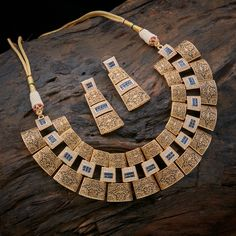 Awesome Its completely fashion necklace with matching ear ring the shape of square www. - Women's Jewelry and Accessories-Women Fashion Jewelry Design Earrings, Gold Jewellery Design, Necklace Designs, Gold Jewelry, Jewelery, Gold Necklace, Pearl Necklaces, Craft Jewelry, Jewelry Stand