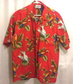 f37fb2ad98c Hawaiian Aloha XL Shirt Pacific Legend Red Parrots Palm Leaves Vintage USA   PacificLegendApparelInc  Hawaiian