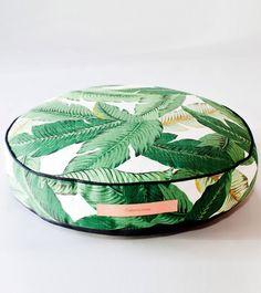 Martinique, Banana leaf, palm, Beverly Hills Hotel, Classic California wallpaper print, Tahiti Round Floor Pillow