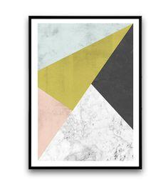 Marmeren wand afdrukken geometrische kunst abstract door Wallzilla