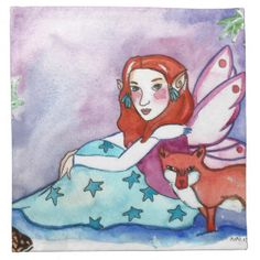 Fairy and a Fox Cloth Napkin Head Start, Party Hats, Funny Cute, Napkin, Art Pieces, Fox, Kids Shop, Fairy, Disney Characters