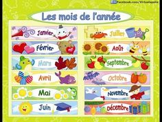 Months of the year French song. French Lessons, Spanish Lessons, Home Learning, Early Learning, French Classroom Decor, French Basics, Attendance Chart, French Days, French Flashcards
