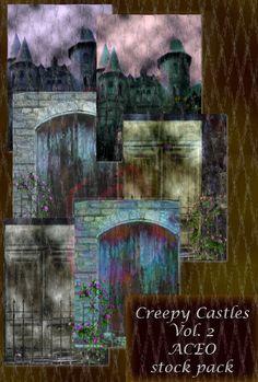 Creepy Castles Goth ACEO Background Stock Pack by TheGraniteZebra, $4.00