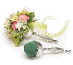 Silver Metal Floral Flower Bouquet Holder Bridal Accessory