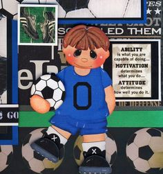 SOCCER ~ 2 Premade Scrapbook Pages BOY 3D paper piecing 4 Album ~ BY CHERRY
