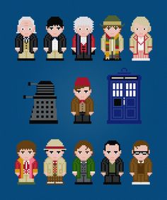 Doctor Who - The Eleven Doctors (with TARDIS and Dalek) - Cross Stitch PDF…