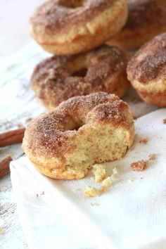 French Breakfast Donuts by camillestyles as adapted from cooks.com: Baked in the oven and then briefly dipped in melted butter and then cinnamon/sugar. #Donuts #French_Breakfast #camillestyles