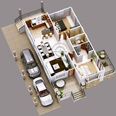Modern Two Bedrooms And Two Bathrooms Bungalow House Plan - Ulric Home 2bhk House Plan, 3d House Plans, House Layout Plans, House Layouts, Small House Plans, Bungalow Haus Design, Modern Bungalow House, Bungalow Floor Plans, Bedroom Floor Plans