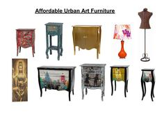 Affordable and cute art furniture accents. Small scale for cute and cozy spaces. Available at UrbanAccentsNY.com