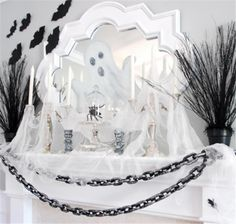 Halloween Decorating Ideas with Black and White Theme-mantel