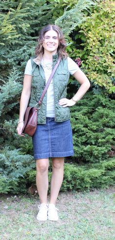 Vest   Tee   Jean Skirt   Sneakers   Statement Necklace = The Perfect Mom-On-The-Go Outfit and Tres-Chic Fashion Thursday Link Up
